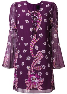 Anna Sui floral fitted dress - Pink & Purple