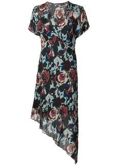 Anna Sui floral print asymmetric dress - Blue
