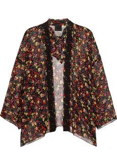 Anna Sui Floral-print silk-crepon and crocheted lace kimono