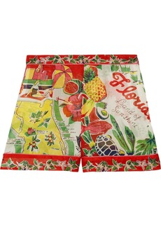 Anna Sui Florida printed silk-jacquard shorts