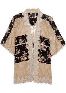 Anna Sui Lace-paneled printed silk crepe de chine jacket