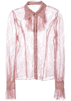 Anna Sui lace sheer shirt - Pink & Purple