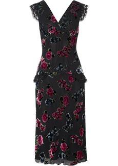 Anna Sui Lace-trimmed floral-print devoré-chiffon midi dress