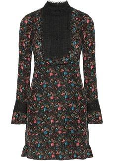 Anna Sui Lace-paneled printed silk-blend jacquard mini dress