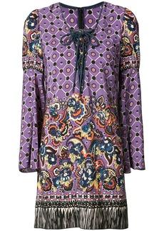 Anna Sui paisley print fringed dress - Pink & Purple