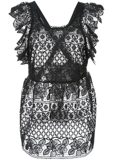 Anna Sui perforated lace blouse - Black
