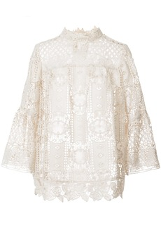 Anna Sui perforated lace blouse - Nude & Neutrals