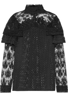 Anna Sui Ruffled embroidered lace blouse
