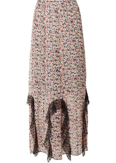 Anna Sui Scattered Flowers Point D'esprit-trimmed Floral-print Silk-chiffon Midi Skirt