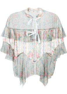 Anna Sui sheer floral tulle hem blouse