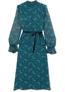 Anna Sui Star Burst printed crinkled silk-chiffon dress