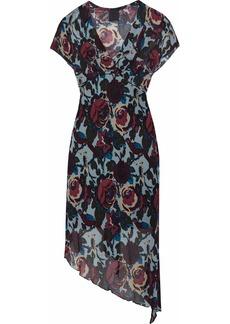 Anna Sui Woman Asymmetric Printed Crepe Dress Sky Blue