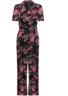 Anna Sui Woman Belted Printed Cotton And Silk-blend Jumpsuit Black