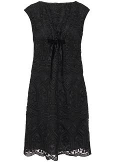 Anna Sui Woman Bow-embellished Macramé Lace Mini Dress Black