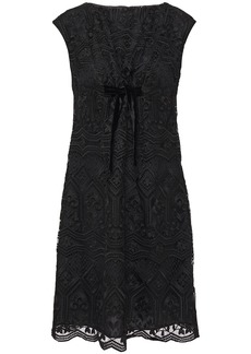Anna Sui Woman Bow-embellished Macramé Lace Mini Dress Black