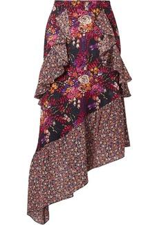 Anna Sui Woman Butterflies And Bells Asymmetric Printed Silk-jacquard Midi Skirt Black