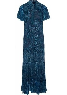 Anna Sui Woman Cape-effect Embroidered Silk-chiffon Gown Teal
