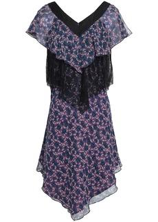 Anna Sui Woman Chantilly Lace-paneled Floral-print Silk-gauze Dress Purple