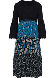 Anna Sui Woman Crepe-paneled Printed Silk-jacquard Georgette And Chiffon Dress Black