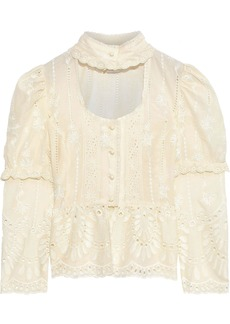 Anna Sui Woman Cutout Broderie Anglaise Cotton Peplum Blouse Ivory