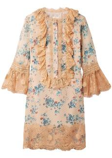 Anna Sui Woman Decoupage Lace-trimmed Fil Coupé Silk-blend Mini Dress Pastel Orange