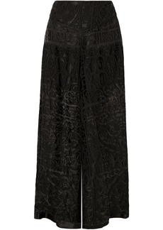 Anna Sui Woman Devoré-chiffon Wide-leg Pants Black