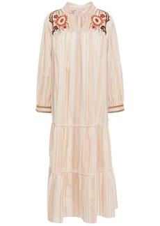 Anna Sui Woman Embellished Gathered Jacquard Midi Dress Peach