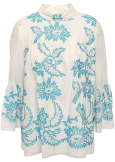 Anna Sui Woman Embroidered Cotton-gauze Blouse Off-white