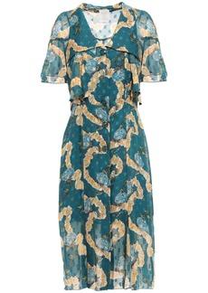 Anna Sui Woman Fil Coupé Silk-chiffon Dress Petrol