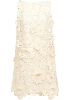 Anna Sui Woman Floral-appliquéd Guipure Lace Mini Dress Ivory