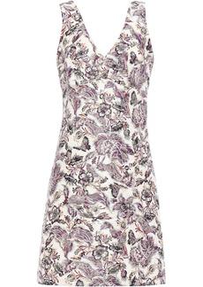 Anna Sui Woman Floral-jacquard Mini Dress Plum