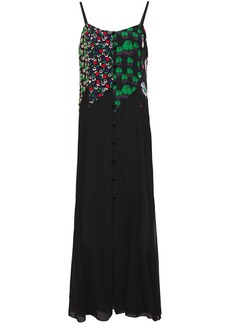 Anna Sui Woman Floral Print Crepe And Georgette Maxi Dress Black