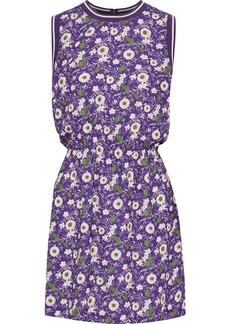 Anna Sui Woman Floral-print Crepe De Chine Mini Dress Purple