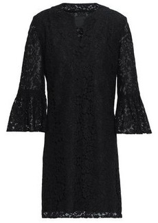 Anna Sui Woman Fluted Corded Lace Mini Dress Black