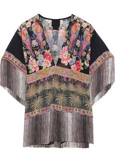Anna Sui Woman Fringe-trimmed Floral-print Chiffon Blouse Black