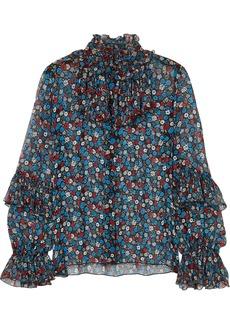 Anna Sui Woman Fruits & Florals Ditsy Daze Floral-print Silk-chiffon Blouse Blue