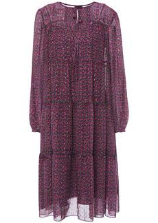 Anna Sui Woman Gathered Floral-print Metallic Fil Coupé Georgette Dress Grape