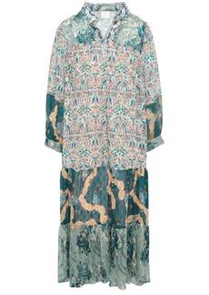 Anna Sui Woman Gathered Printed Fil Coupé Chiffon Dress Ivory