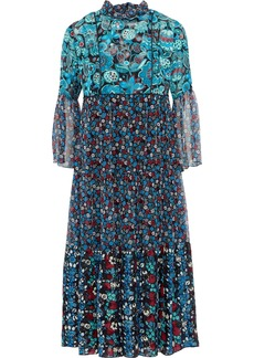 Anna Sui Woman Gathered Printed Jacquard And Georgette Midi Dress Blue