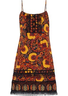 Anna Sui Woman Guipure Lace-trimmed Printed Cotton-jacquard Mini Dress Multicolor