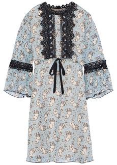 Anna Sui Woman Guipure Lace-trimmed Printed Silk-chiffon Mini Dress Multicolor
