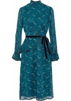 Anna Sui Woman Guipure Lace-trimmed Printed Silk-chiffon Peplum Dress Teal
