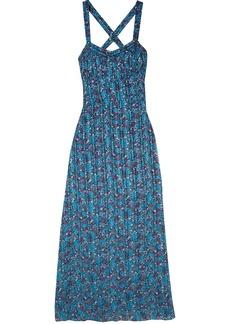 Anna Sui Woman Incense And Joy Printed Silk-jacquard Maxi Dress Blue