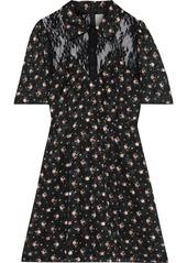 Anna Sui Woman Lace-paneled Floral-print Fil Coupé Mini Shirt Dress Black