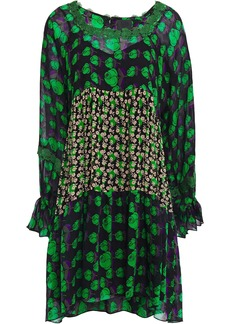 Anna Sui Woman Lace-trimmed Floral-print Silk-crepe And Georgette Mini Dress Black