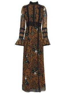 Anna Sui Woman Lace-trimmed Printed Chiffon Maxi Dress Light Brown