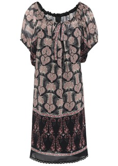 Anna Sui Woman Lace-trimmed Printed Chiffon Mini Dress Black