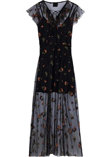Anna Sui Woman Lace-up Embroidered Tulle Midi Dress Multicolor
