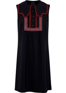 Anna Sui Woman Layered Embroidered Crepe Mini Dress Black