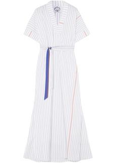 Anna Sui Woman Mara Belted Striped Cotton Maxi Dress White